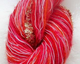 Hand painted novelty yarn 50g  red scarlet orange