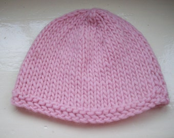 Pale pink beanie, merino wool, knit hat, teen or small size