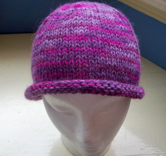 Alpaca beanie roll up hat knit soft purple
