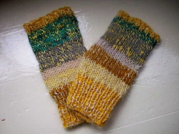 Hand warmers handspun merino silk fingerless gloves yellow mustard jade