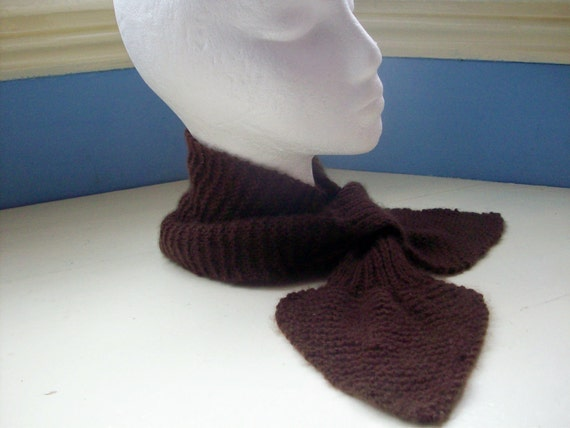 Cashmere ascot scarf vintage style retro 50s luxury knit chocolate brown