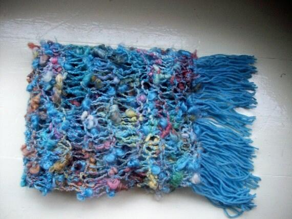 Vegan scarf soft fluffy blue wool free