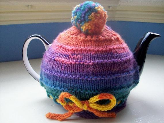 Fun Tea Cozy  - knit bright multicolor pompom