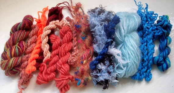 Grab bag assorted yarn 50g blue brown