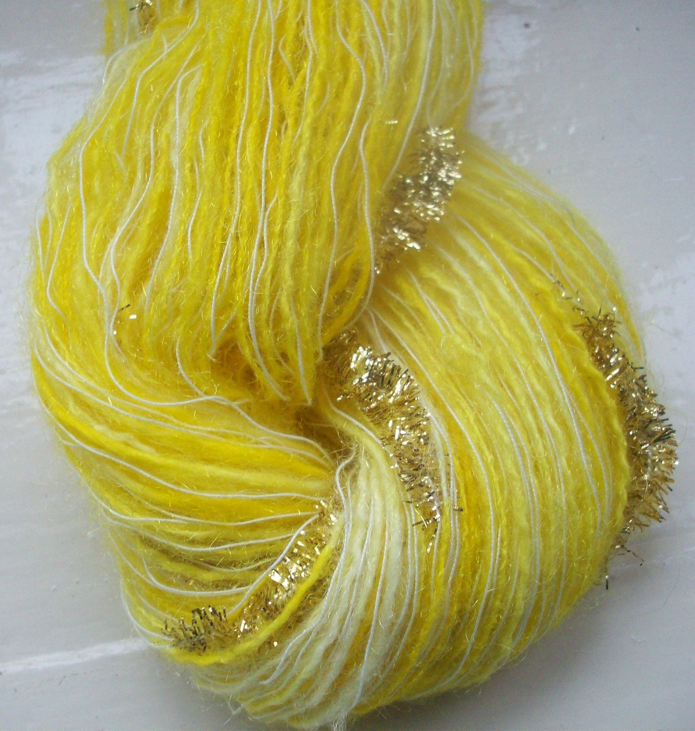 Hand painted novelty yarn 50g yellow gold by by SpinningStreak