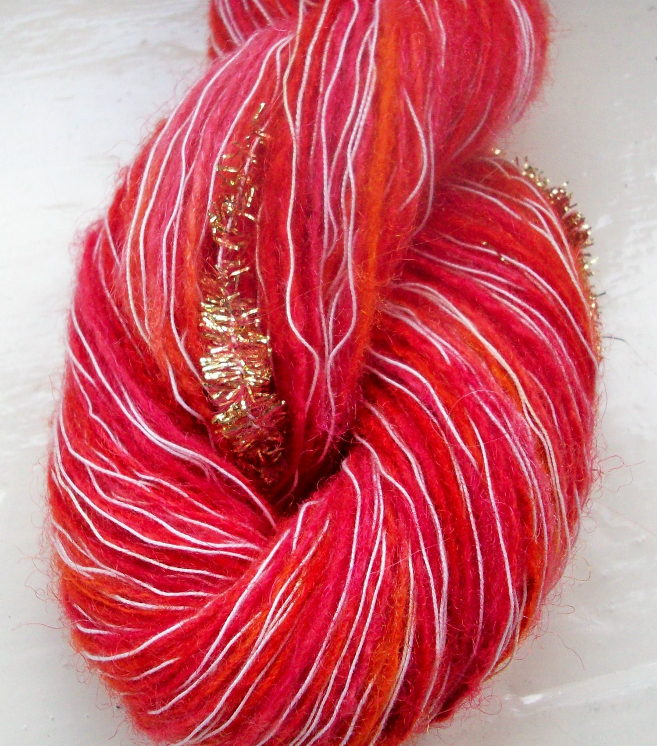 Novelty Yarn : Hand painted novelty yarn 50g red scarlet by SpinningStreak