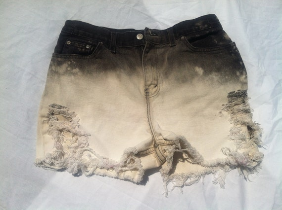 ombre black high waisted cut off shorts (LARGE)