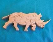 White Rhino Animal Puzzle--Hard Maple