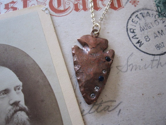 Copper and Cubic Zirconia Arrowhead Pendant