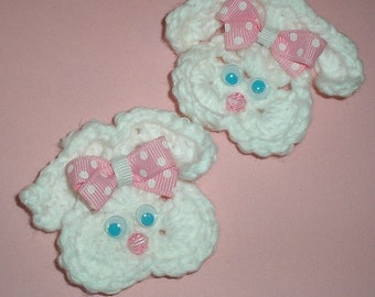 Crochet Easter Bunny Applique hair clips Set of 2 for hair or hats