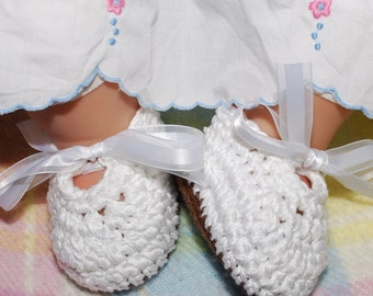 Mary Janes shoes, baby girl booties 0 to 3 months  white cotton with white satin ties