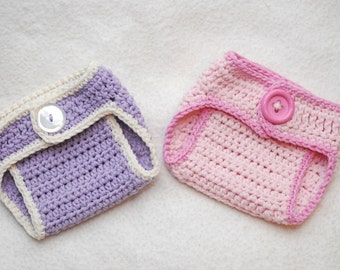 2 Crochet Diaper covers newborn 0-3 3-6 6-12 12-24 months U choose size / color