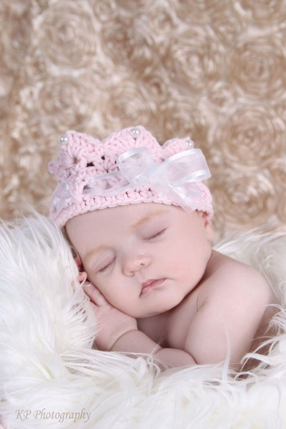 Pink Baby crown with ribbons and pearls, baby photography prop, newborn to toddler