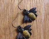 FUN fund - small dainty BEE patina dangle earrings