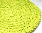 Lime Green and Lemon Yellow Hand Crocheted Hotpad, Hot Pad, Trivet, Table Coaster, Protector, Handmade, Dining Accessory, Decorating