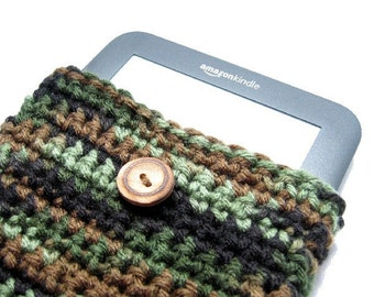 Camouflage Kindle Ereader Cover, Handmade Gadget Cover, Camo Kindle Fire Case, Cozy, Green, Brown, Black, Tan, Ereader Cover