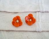Orange Flower Studs - Reduced Price - Free Shipping