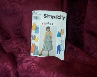 UNCUT Simplicity 8048 Girls Summer Top Dress Jumper Jumpsuit Romper Sewing Pattern SEWBUSY12
