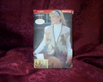 UNCUT Butterick 5289 Fall Winter Misses' Cat  Vest Sewing Pattern SEWBUSY12