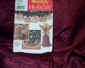 UNCUT Simplicity 7938 Shabby Chic, Country,Craft Christmas Holiday Angels,Tree Skirt, Stocking, Ornaments, Wreath, Sewing Pattern SEWBUSY12