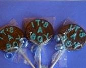 25 It's A Boy Baby Shower Chocolate Lollipops