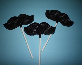 Lot of 24 Chocolate Mustache  Lollipops