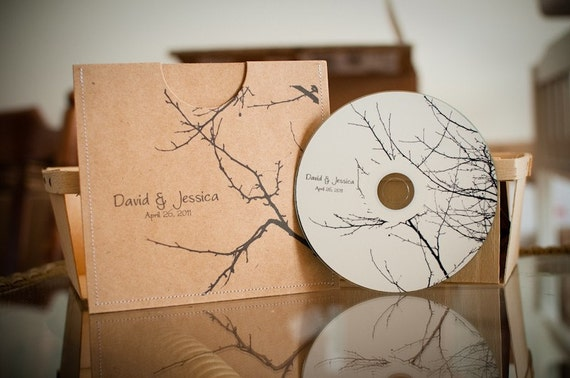 75 Personalized Wedding Sleeves and blank CDs BRANCHES COLLECTION