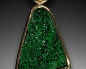 14K gold Uvarovite garnet, Tsavorite garnet and diamonds pendant