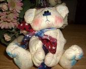 Patriotic Whimsical primitive White Bear Shelf Sitter Wonderful Gift Idea
