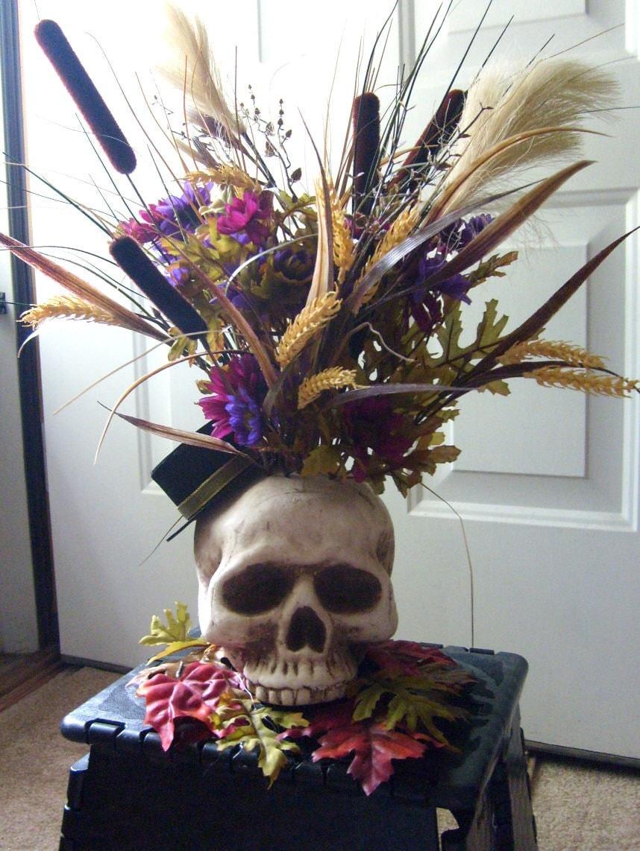halloween skelton skull flower arrangement decoration sale for. Black Bedroom Furniture Sets. Home Design Ideas