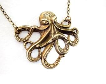 Antique brass OKTO necklace