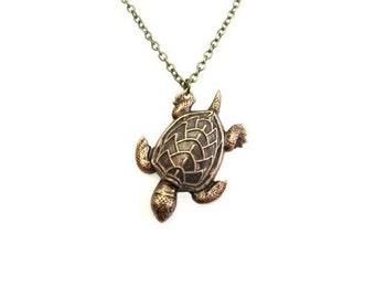 Antique BrassTurtle Necklace