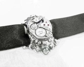 Steampunk Necklace - Gothic Choker - Watch Movement - Black Satin Ribbon - Adjustable - Petite Oval Vintage Swiss Ruby Jeweled -