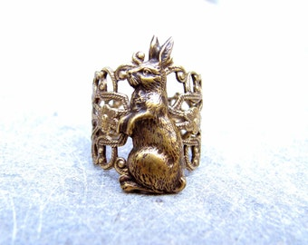 Brass Rabbit Ring - Mr White From Wonderland -Neo Victorian Fantasy Ring -