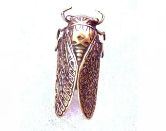 Cocktail Ring - Large Cicada - Ciccada - Antique Brass