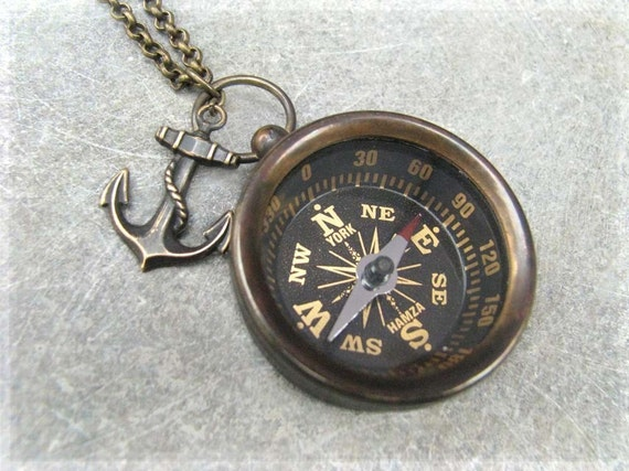 Compass Necklace - The Explorer Solid Brass Working Compass - Steampunk Necklace