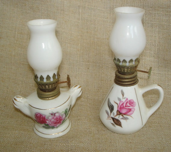 Vintage Mini Miniature Porcelain Rose Hurricane Lamps Perfume