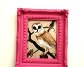 Mini Framed Owl and Pomegranates