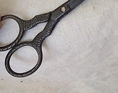 SALE - Victorian Era Embossed Steel Scissors