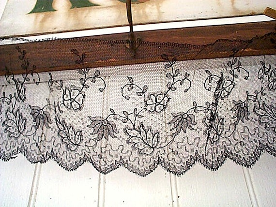 SALE Antique French black net lace yardage - leaf floral - 6 inch wide x 1.75 yards