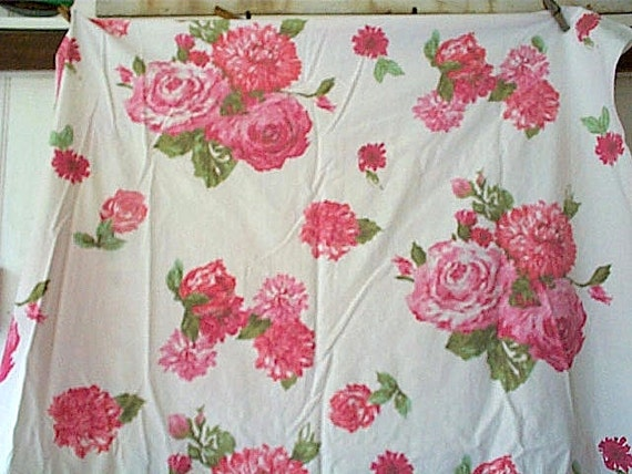 Flat & fitted percale sheets honeysuckle pink roses twin size - cotton Dan River Made in U.S.A.