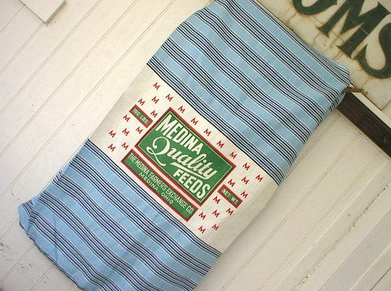 SALE Vintage feedsack original paper label, indigo sky blue stripe - Medina Feeds, Ohio