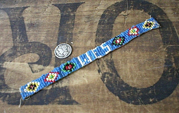 Native American inspired beadwork bead loomed band - 50s vintage camp craft