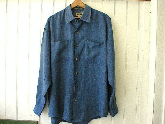 SALE Vintage linen flax mens shirt, indigo blue - large extra large, loose fit