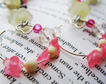 Pink and Yellow flower dangle hoops