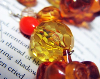 Amber Pumpkin Dangles