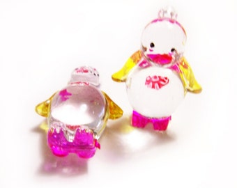 2 Plastic Penguin Charms - Yellow and Pink