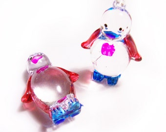 2 Plastic Penguin Charms - Red and Blue