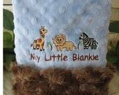 blue  boy blankie / Zebra Safari Animals Minky Blanket Rosebud Baby blankie