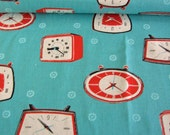 1.5 yards Aqua  / Japanese fabric / Melody Miller / Ruby star shining / Kokka / clocks